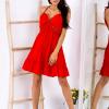 SCANDEZZA Czerwona sukienka wiązana na szyi - zdjęcie 2
