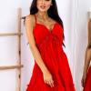 SCANDEZZA Czerwona sukienka wiązana na szyi - zdjęcie 5