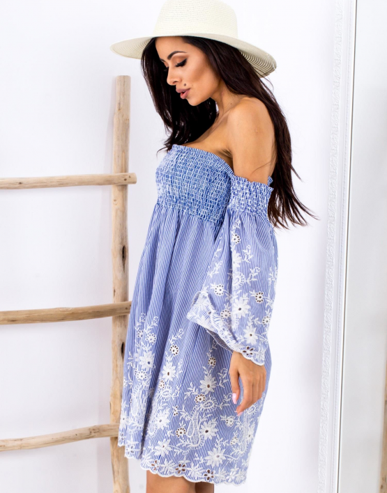 SCANDEZZA Niebieska sukienka w paski