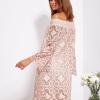 SCANDEZZA Pudroworóżowa sukienka hiszpanka z kwiatową koronką - zdjęcie 3