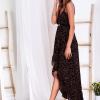 SCANDEZZA Czarna sukienka w drobny kwiatowy wzór - zdjęcie 5