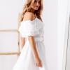 SCANDEZZA Biała sukienka hiszpanka z haftem angielskim - zdjęcie 3