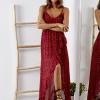 SCANDEZZA Bordowa sukienka w drobny kwiatowy wzór - zdjęcie 1
