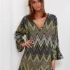SCANDEZZA Zielona sukienka w geometryczny nadruk - zdjęcie 1