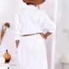 SCANDEZZA Biała bawełniana sukienka szmizjerka - zdjęcie 2