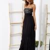 SCANDEZZA Czarna sukienka maxi z cekinową górą - zdjęcie 1