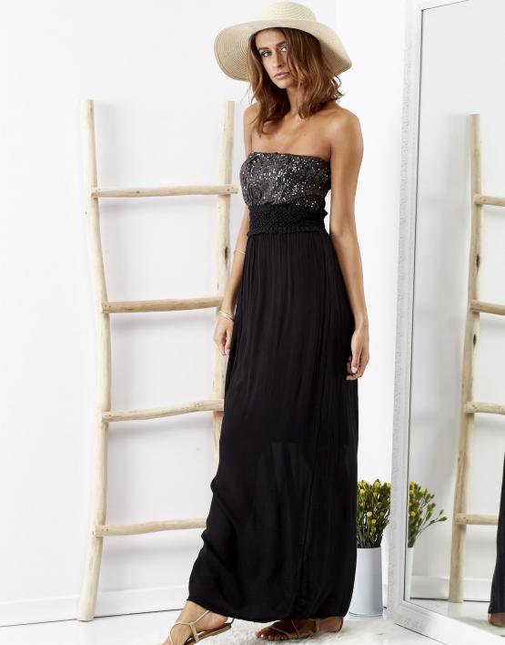 SCANDEZZA Czarna sukienka maxi z cekinową górą