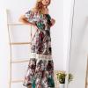 SCANDEZZA Biało-zielona sukienka maxi z etnicznym nadrukiem - zdjęcie 3