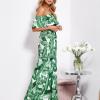 SCANDEZZA Biało-zielona sukienka hiszpanka maxi w tropikalne li¶cie - zdjęcie 3