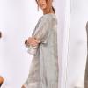 SCANDEZZA Khaki sukienka oversize z cekinami w malarski deseń - zdjęcie 1