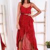 SCANDEZZA Czerwona sukienka w drobny kwiatowy wzór - zdjęcie 1