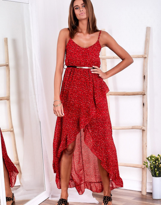SCANDEZZA Czerwona sukienka w drobny kwiatowy wzór