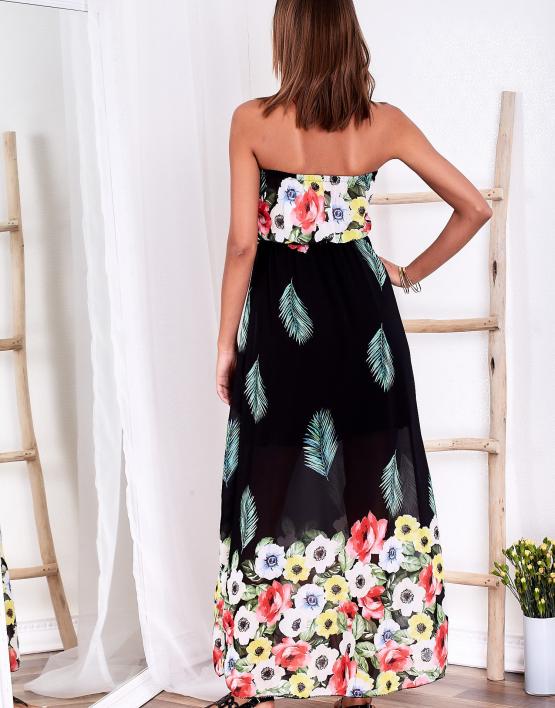 SCANDEZZA Czarna długa sukienka z kolorowymi kwiatami
