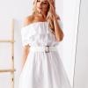 SCANDEZZA Biała sukienka hiszpanka z haftem angielskim - zdjęcie 5