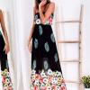 SCANDEZZA Czarna długa sukienka z kolorowymi kwiatami - zdjęcie 3