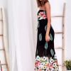 SCANDEZZA Czarna długa sukienka z kolorowymi kwiatami - zdjęcie 4