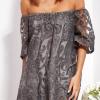 SCANDEZZA Grafitowa sukienka hiszpanka mini ze wzorem paisley - zdjęcie 2