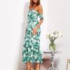 SCANDEZZA Biało-zielona sukienka maxi off shoulder w li¶cie - zdjęcie 2