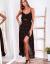 SCANDEZZA Czarna sukienka w drobny kwiatowy wzór