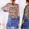 SCANDEZZA Brązowo-niebieska sukienka ombre z jedwabiem - zdjęcie 3