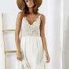 SCANDEZZA Beżowa sukienka z ozdobną górą - zdjęcie 1