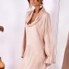 SCANDEZZA Pudroworóżowa luźna sukienka z jedwabiem - zdjęcie 2