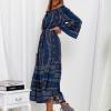 SCANDEZZA Granatowa sukienka maxi hiszpanka ze wzorem - zdjęcie 3