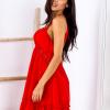 SCANDEZZA Czerwona sukienka wiązana na szyi - zdjęcie 3