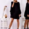 SCANDEZZA Czarna sukienka z hiszpańskimi rękawami - zdjęcie 4