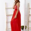SCANDEZZA Czerwona sukienka maxi z cekinową górą - zdjęcie 5