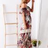 SCANDEZZA Biało-bordowa sukienka maxi z etnicznym nadrukiem - zdjęcie 4