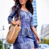 SCANDEZZA Niebieska sukienka boho z wycięciami na ramionach - zdjęcie 1