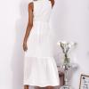 SCANDEZZA Ecru sukienka maxi z haftowanym dekoltem - zdjęcie 3