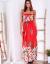 SCANDEZZA Czerwona długa sukienka z kolorowymi kwiatami