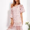 SCANDEZZA Pudroworóżowa luźna sukienka z oddzielną halką - zdjęcie 2