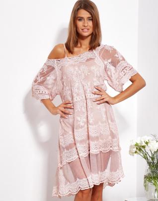 SCANDEZZA Pudroworóżowa luźna sukienka z oddzielną halką