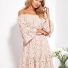 SCANDEZZA Beżowa rozkloszowana sukienka hiszpanka z haftem - zdjęcie 1