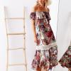 SCANDEZZA Biało-bordowa sukienka maxi z etnicznym nadrukiem - zdjęcie 1