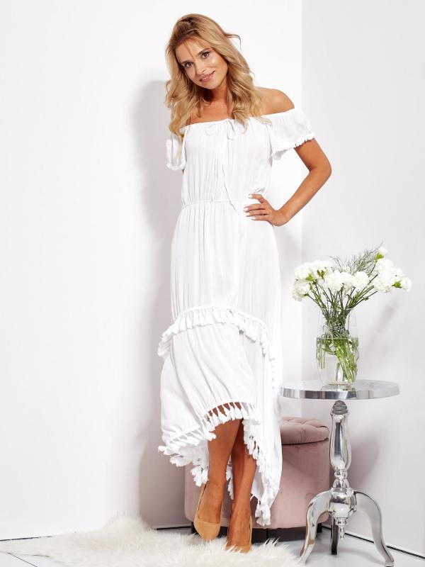 SCANDEZZA Biała asymetryczna sukienka hiszpanka z frędzlami