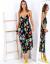 SCANDEZZA Czarna długa sukienka z motywem roślinnym