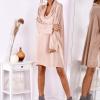 SCANDEZZA Pudroworóżowa luźna sukienka z jedwabiem - zdjęcie 4