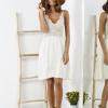 SCANDEZZA Beżowa sukienka z ozdobną górą - zdjęcie 4