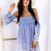 SCANDEZZA Niebieska sukienka w paski - zdjęcie 3