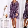 SCANDEZZA Fioletowa sukienka w panterkę z jedwabiem - zdjęcie 2