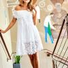 SCANDEZZA Biała sukienka hiszpanka z koronkowymi modułami - zdjęcie 6