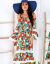 CANDEZZA Czerwono-zielona wzorzysta sukienka w ro¶linne wzory