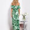 SCANDEZZA Biało-zielona sukienka hiszpanka maxi w tropikalne li¶cie - zdjęcie 5