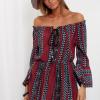 SCANDEZZA Bordowa sukienka maxi hiszpanka ze wzorem - zdjęcie 3