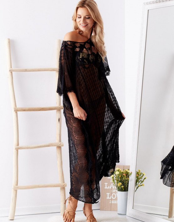 SCANDEZZA Czarna transparentna sukienka maxi