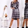 SCANDEZZA Ciemnoszara metaliczna sukienka w kratę z kołnierzykiem - zdjęcie 3
